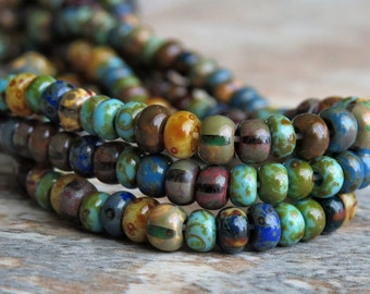 6/0 Czech Glass Bead Caribbean Blue Aged Striped Picasso Seed Bead Mix : 10 inch Strand 6/0 Seed Bead Mix