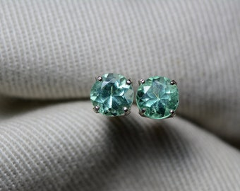 Emerald Earrings, Colombian Emerald Stud Earrings 1.06 Carats Round Brilliant Cut, Appraised at 850.00 Sterling Silver,Real Natural Green