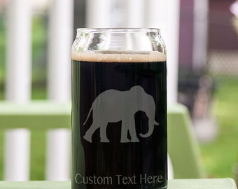 Walking Elephant Customizable Etched Glassware Beer Can Glass Barware Gift