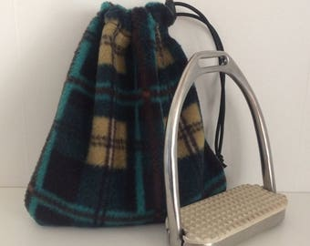 Turquoise Black Tan  Plaid STIRRUP COVERS protect your saddle Iron Bags