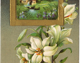 White Easter Lilies White Easter Lilly with Framed Country Cottage Scene Ephemera Easter Greeting Vintage Postcard