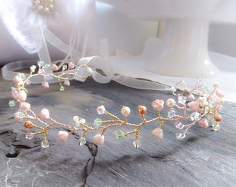 crystal hair circlet, vine, any colour, swarovski, rose gold, bridesmaid crown, boho, wedding accessories, summer bride, Boho chic, pink