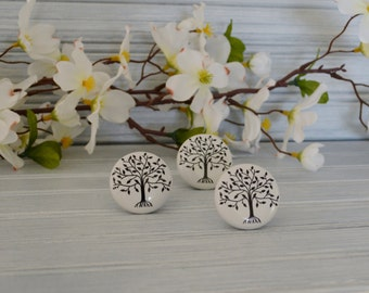 One Tree of Life Knob. Tree Knob. Black and White Knob. Nature Inspired Knob. Family Tree Knob. Tree Drawer Pull. Cabinet Knob. Dresser Knob