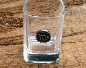 Pair of Scorpio Shot Glasses Zodiac Sign Crystal with Pewter Motif Water Star Sign Gift