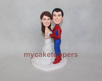 spiderman wedding cake topper, superhero cake topper, personalized cake topper, Mr and Mrs cake topper, custom cake topper,