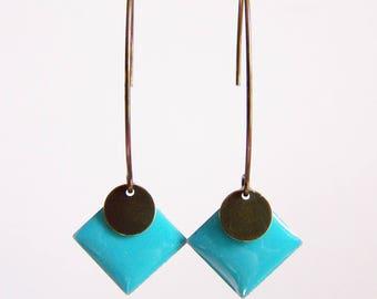 Turquoise blue enameled diamond earrings