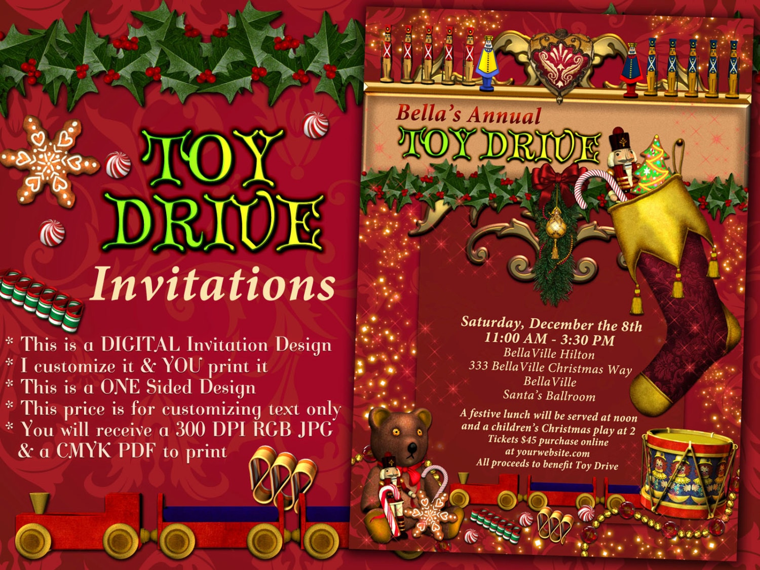 Toy Drive Invitations Christmas Party Invites Holiday