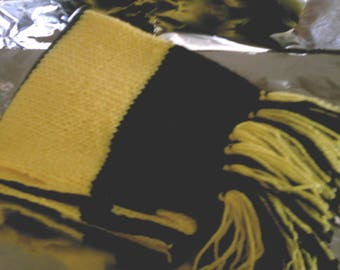 Hand Knitted Yellow and Black Scarf