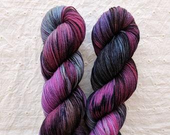 Reverie - blue fuchsia purple variegated sock yarn - on Mars 75/25 SW Merino/Nylon sock- ready to ship!