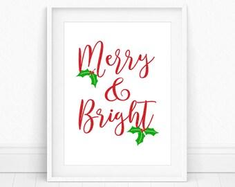 Merry and Bright, Christmas Printable, Christmas Decor, Red and Green, Holiday Wall Art, Xmas Print, Christmas Print, Seasonal Prints