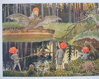 Elsa Beskow Whimsical Vintage Book Print Children of the Forest Tomtebobarnen Print from 1920's Edition Swedish Children's Picture Book