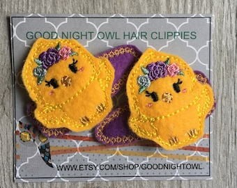 Yellow Chick Hair Clip Set of 2