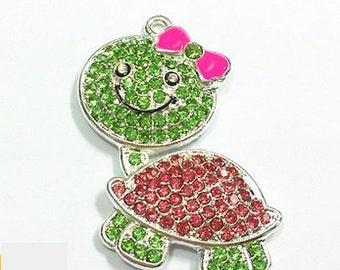 Little DIVA Bubble Gum Necklace Turtle Pendant
