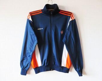 Vintage Blue ADIDAS Jacket Running Track Jacket Orange Parka Jogging Aerobics Jacket Hipster Sport Coat Unisex Three Stripes Size Large