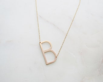 Large Rose Gold Initial Necklace, Valentine's Day Necklace, Trendy Necklace, Monogram Necklace, Bridesmaid Gifts