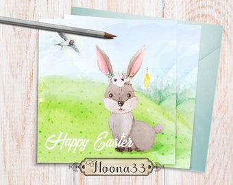 Cute Easter card, 'Happy Easter' card, Easter bunny, Printable DIY Card, Instant Download