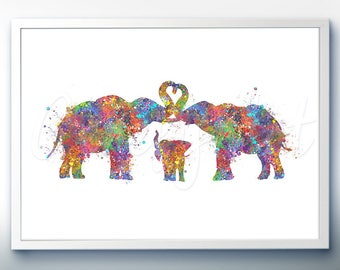 Elephant Family [2] Watercolor Art Print  - Home Living - Animal Painting - Elephant Poster - Wall Decor -Home Decor - House Warming Gift