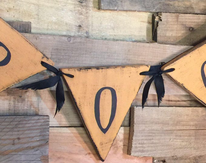Vintage Style Halloween Boo Wooden Bunting