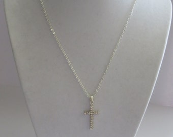 Vintage Silver Tone Cross Pendant Necklace
