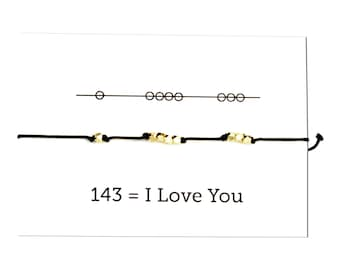 Knotted Cord Bracelet: I Love You Secret Code Bracelet  Friendship Bracelet, Bestie Gift, Gifts for her, Bridesmaid gift