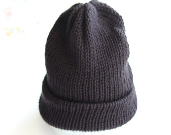 BLACK Knit Hat - Black Winter Hat - Knit Slouchy Hat - Black Beanie Winter - Knitted Hat - Adjustable Hat One Size - Winter Accessories