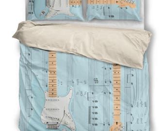 Amy Winehouse Fender Bed Set. Guitar Player Gift.