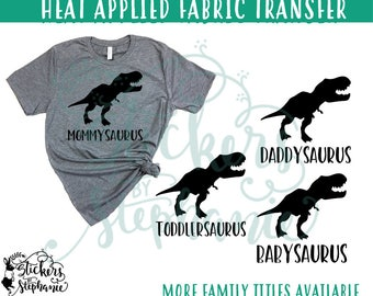 IRON On v244-B6 T-Rex Dino Dinosaur Tyrannosaurus Daddy Mommy Shirt Transfer *Specify Color Choice in Notes or BLACK VINYL