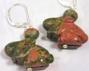 Rabbit Carved Stone Earring / Unakite Green Pink Drop Earrings / Bunny Jewelry / Rabbit Jewelry / Artisan Jewelry / Gift for Rabbit Lovers
