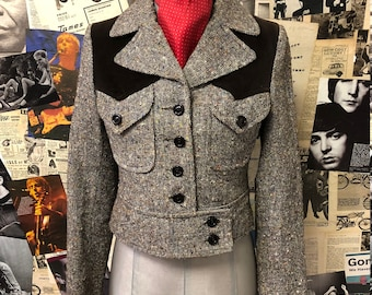 Cute Vintage 1960s Cropped Button Down Jacket by Richard Shop Brown Tweed Wool Velvet Mod UK Size 6 Free UK & Cheap Worldwide Post