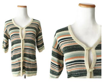 Space Dye Sweater 70s Cardigan Boho Bohemian Hippie Hippy Toggle Buttons Striped Short Sleeves Size Medium M Green Coral