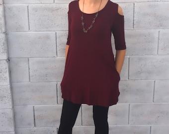 Tunic - Cold Shoulder Tunic - Cute Tunic - Tunic with Pockets - T-shirt Dress - Women's Tunic Top - Fall Tunic