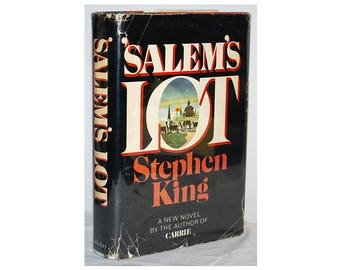 Salem's Lot by Stephen King. First edition, 1st printing in the second-state priced DJ. King's second book, following Carrie. Vampire novel.