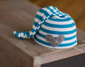 Newborn Boy Hat, Newborn Hat, Blue White Striped Knot Hat with Grey Heart, Ready To Ship Photography Prop, Hospital Hat, Coming Home Hat