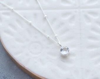 Winter Topaz Necklace, Topaz Gemstone Necklace, White Topaz Necklace, Gemstone Layering Necklace