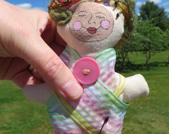Sally, Mixed Media Art Doll Fabric Fiber Art Hand Painted Face