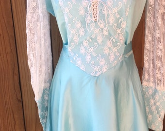1970s Baby Blue and White Lace Dress With Sheer Lace Sleeves