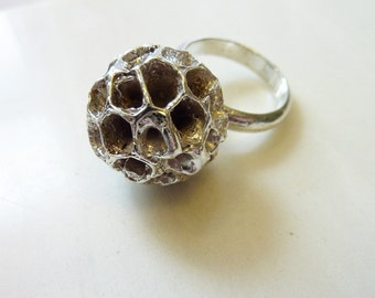 Podcast Ring, Hand Cast Bronze or Sterling Silver from Seed Pod, Organic Nature Jewelry, Space Age, Statement Cocktail Ring, Beehive