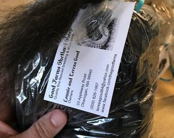 Shetland sheep wool roving - gorgeous black!! Super soft!!