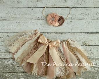 Vintage Tutu Shabby Chic Tutu Vintage Skirt Shabby Chic Skirt Baby Tutu Baby Skirt Lace Burlap Tutu Skirt Vintage Cake Smash Set Flower Girl