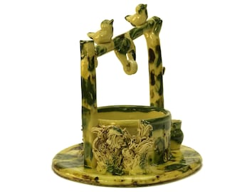 Wishing Well Vase. Rustic French Pottery Home Decor with Bird Figures. Mid Century Glazed Ceramic Flower Bowl.