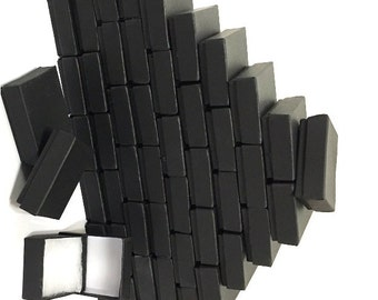100 Pack - Matte Black Boxes (2.5 x 1.5 x 1 in.) Cotton Filled Boxes