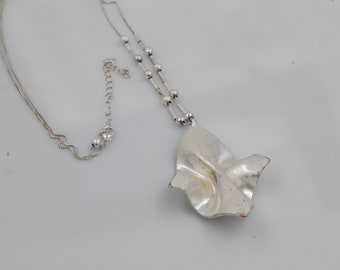 Long Free form Silver Plated Pendant with Silver Tone Beaded Chain Necklace