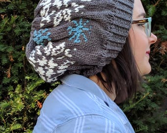 Slouchy Winter Snowflake Hat