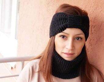 Hand Knitted Turban Winter Headband, Winter Knit Ear Warmer, Winter Headband, Winter Knit Head Wrap, Knitted Ear Warmer, Knit Hat
