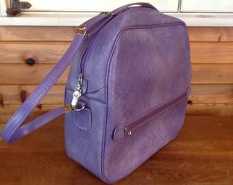 Vintage Luggage Purple/Lavendar Train Case Carry On Bag Make Up Case Over Night Bag Tote Bag