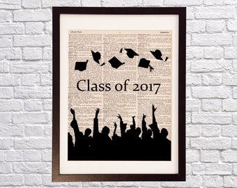 Graduation Dictionary Art Print - Caps in the Air - Graduates Celebrating - Class of 2017 - College, High School Graduation