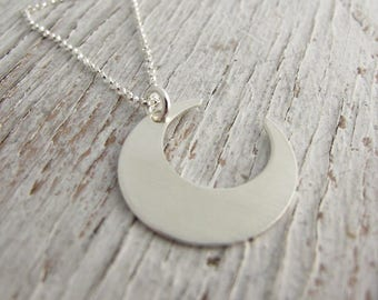 Crescent Moon Necklace, Sterling Silver, Handmade, Half Moon, Ready to Ship