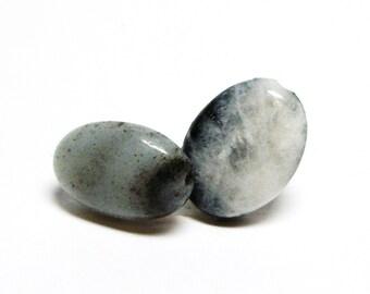 "Amazonite, amazonite beads, cabochon, matching cabs, gray black white, jewelry making, jewelry supply, ""Silky Gray"""