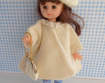 HANDMADE DOLL COAT in white wool - from the 1950s with handknit beret for 8-9in/18-21cm dolls like Ginny, Riley Kish and Licca Chan
