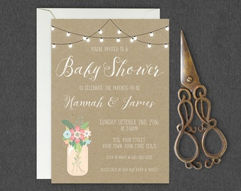 Rustic Baby Shower Invitation, Couples Baby Shower Invitation, Country Baby Shower Invite, Mason Jar, String Light, Floral Mason Jar Invite